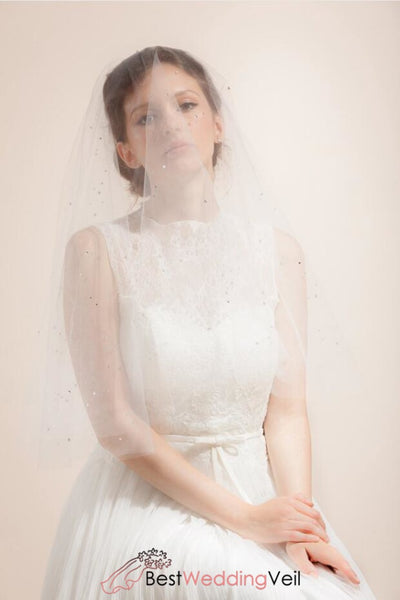 scattered-stones-beaded-bridal-veil-with-romantic-blusher