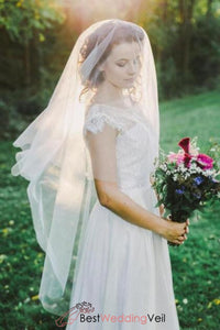 simple-ivory-tulle-fingertip-length-bridal-veil-with-blusher-circle