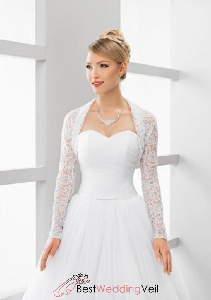 Simple Lace White Bridal Bolero Shrug With Long Sleeves