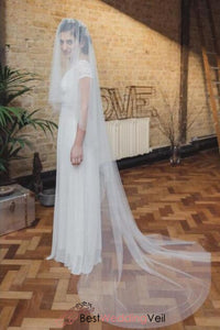 simple-single-layer-tulle-long-wedding-bridal-veils-custom-made