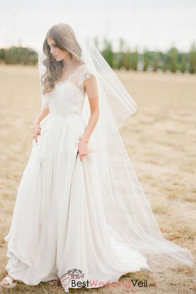 simple-tulle-cut-edge-long-wedding-veil-with-blusher-for-brides