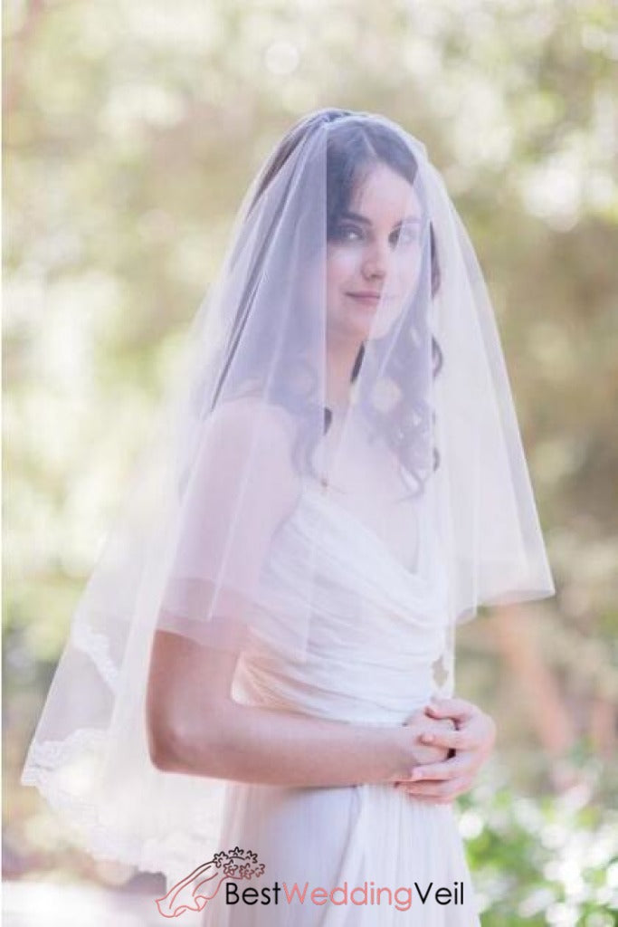 Soft Tulle White Wedding Dresses Veils with Blusher Appliqued Lace ...