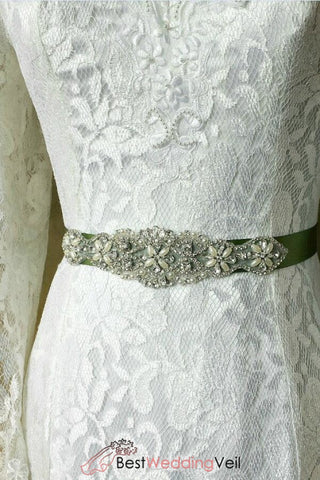 Rhinestone Wedding Sash Beaded Applique Bridal Dress Belt Belts & Sashes