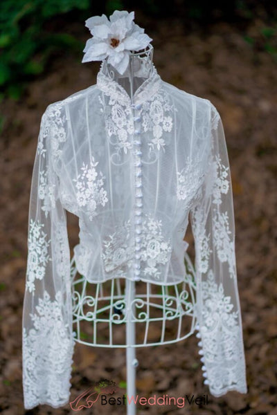 vintage-lace-topper-long-sleeves-wedding-jacket-pearls-high-neck