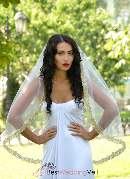 Soft White Tulle Bridal Veil With Mantilla Gold Lace Applique Edge Wedding