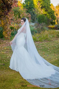 White Cathedral Bridal Veil Tulle Without Embellishments Wedding