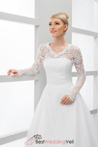 41529f4eb9 White Long Sleeved Lace Bridal Jacket V-neck Wedding Cover up ...