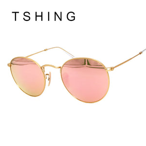f93376a8957 TSHING Vintage Small Round Sunglasses Women Men Classic Brand Designer  Metal Pink Retro Mirror Sun Glasses
