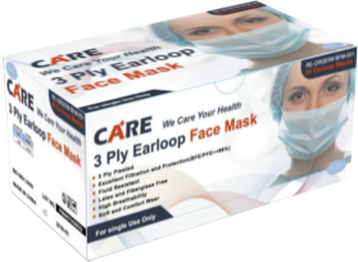 Premium Ear Loop Face Mask, 3-Ply, ASTM Level 2, White (50/Box)