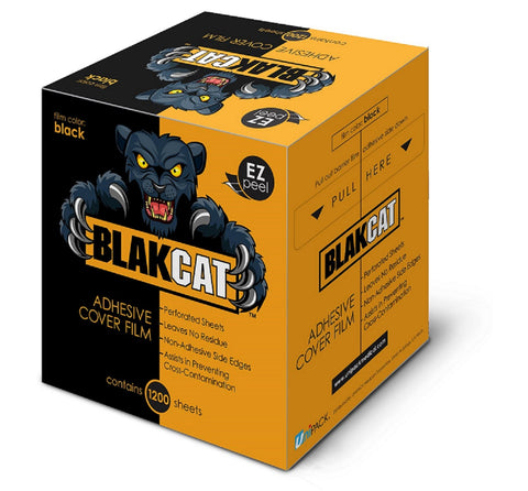 BLAKCAT Easy Peel Adhesive Black Cover Wrap Barrier Film - 1200 sheets