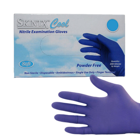 Skintx Cool Nitrile Exam Powder Free Gloves (200/Box)