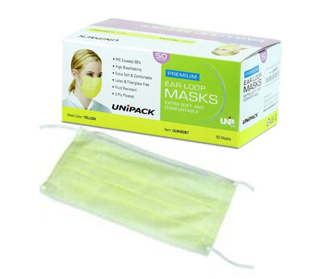 Premium Ear Loop Face Mask, 3 Ply, Latex Free, 50/box