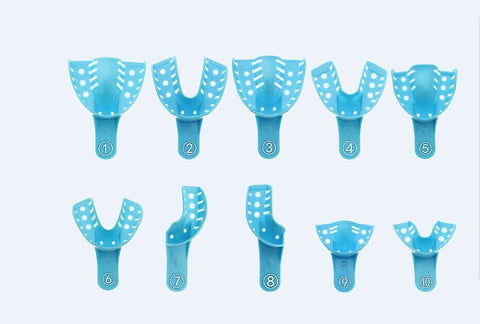 Blue Tray Impression Tray, Perforated (12/Bag)