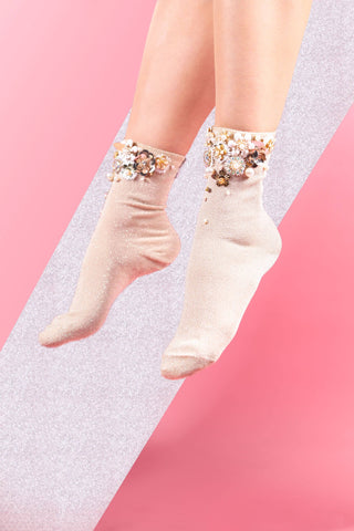 bridal socks secret garden flowers nude pink glittering socks
