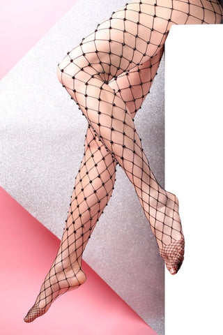 ocean pearl fishnet tights black