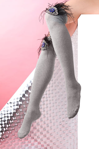 knee high grey socks eyes shapes details swarovski crystals feathers