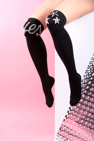 knee high black socks yes print stars details