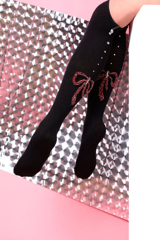 high knee red bow black socks