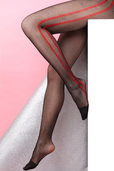 black fishnet tights red stripes