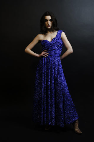 long dark blue dress one shoulder design