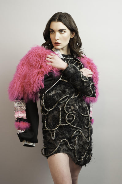 cropped jacket with real fur handmade detailson sleeves