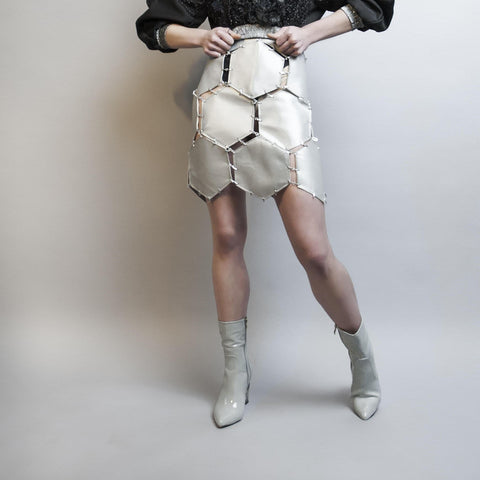 handmade high waist skirt real leather