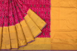 Trisha's Fantastic Magenta Pink & Orange Colored Ikat Handloom Saree