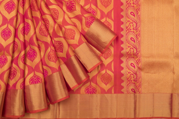 Trisha's Staring Orange-Red Colored Handloom Silk Saree