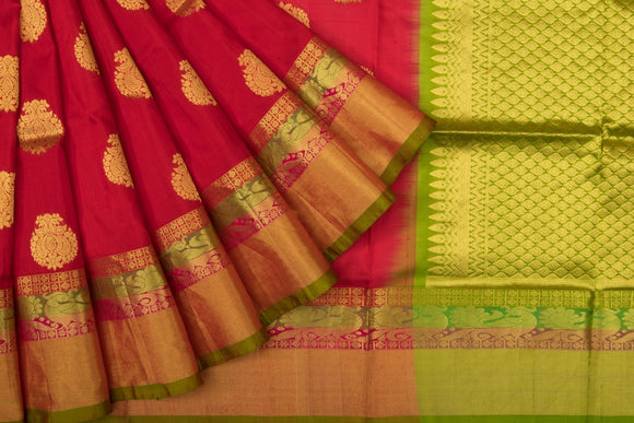Trisha's Maroon & Green Color Handloom Silk Saree