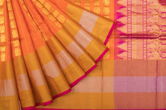 Trisha's Glowing Orange Colored Handloom Silk Saree