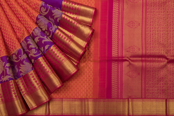 Trisha's Alluring Orange-Red Colored Gadwal Handloom Silk Saree