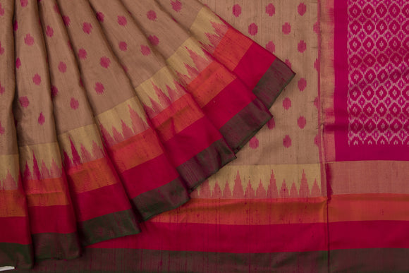 Trisha's Trendy Chikoo Colored Casual Wear Handloom Silk Saree