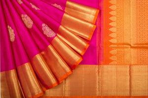Trisha's Staring Fuscia Pink & Orange Colored Kanchipuram Silk Saree