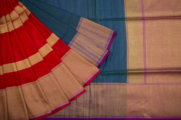 Trisha's Adorable Red & Blue Colored Banarasi Handloom Saree