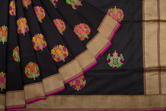 Trisha's Pretty Black Colored Party Wear Banarasi Silk Handloom Saree