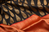 Trisha's Elegant Black & Orange Colored Banarasi Handloom Silk Saree