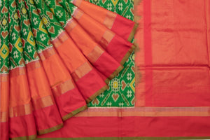 Trisha's Alluring Green-Orange Colored Patola Ikat Handloom Silk Saree