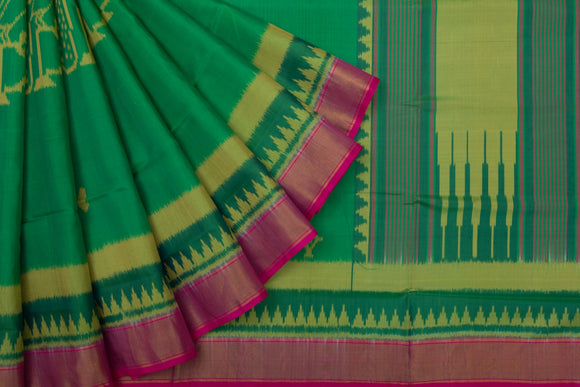Trisha's Starring Green Colored Patola Ikat Style Handloom Saree