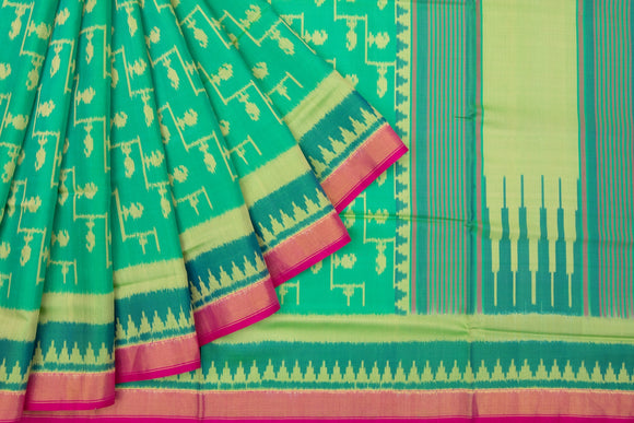 Trisha's Refreshing Green Colored Patola Ikat Style Handloom Saree