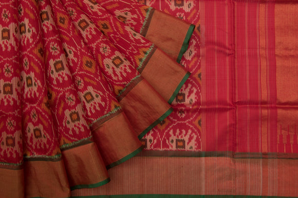 Trisha's Stunning Red Colored Patola Ikat Style Handloom Saree