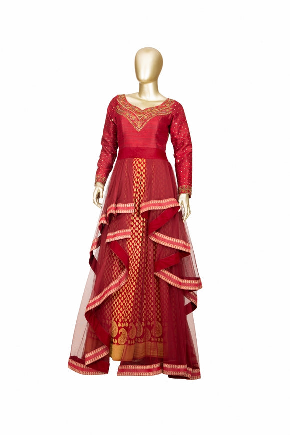 Trisha's Red Color Ethnic Gown