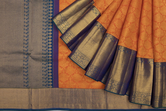 Trisha's Eye-Catching Orange & Blue Colored Pattu Saree