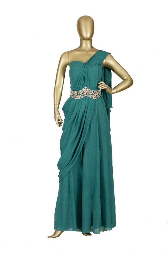 Trisha's Graceful Teal Green Colored Western Style Designer Gown