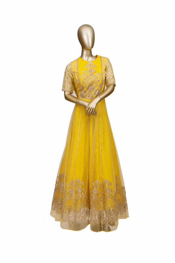 Trisha's Yellow Color Ethnic Gown