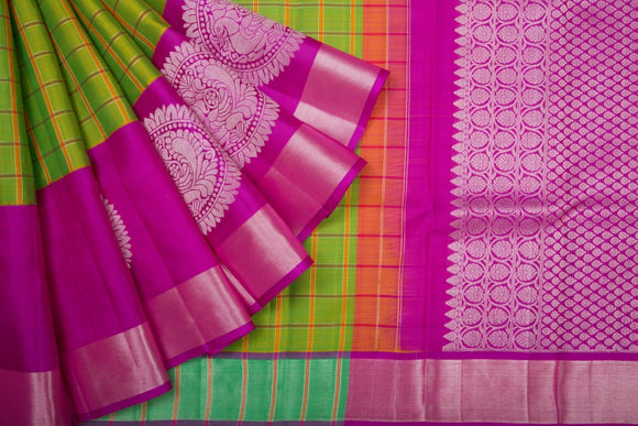 Trisha's Appealing Green & Rani Pink Colored Gadwal Silk Saree