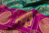 Trisha's Refreshing Green & Rani Pink Party Wear Pattu Saree