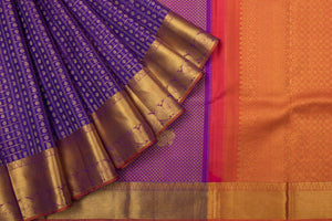 Trisha' Pleasant Royal Blue & Orange Colored Kanchipuram Pattu Saree