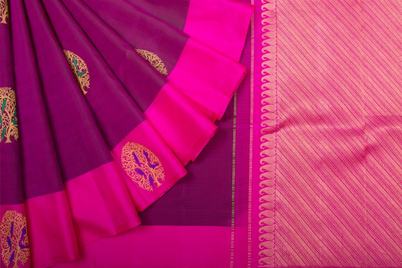 Trisha's Eye-Catching Violet & Magenta Pink Colored Pattu Saree