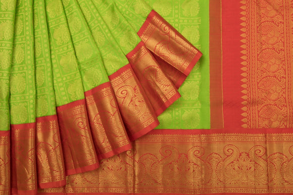 Trisha's Mesmerizing Green & Red Colored Kanchipuram Pattu Saree
