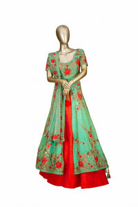 Trisha's Refreshing Lime Green Colored Party Wear Embroidered Lacha